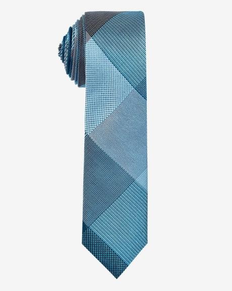 Skinny Check Tie.Aqua sea.1SIZE