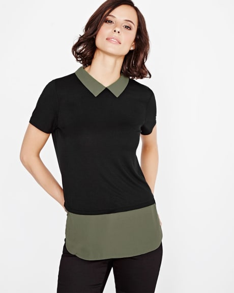 Solid Mixed media t-shirt with shirt collar