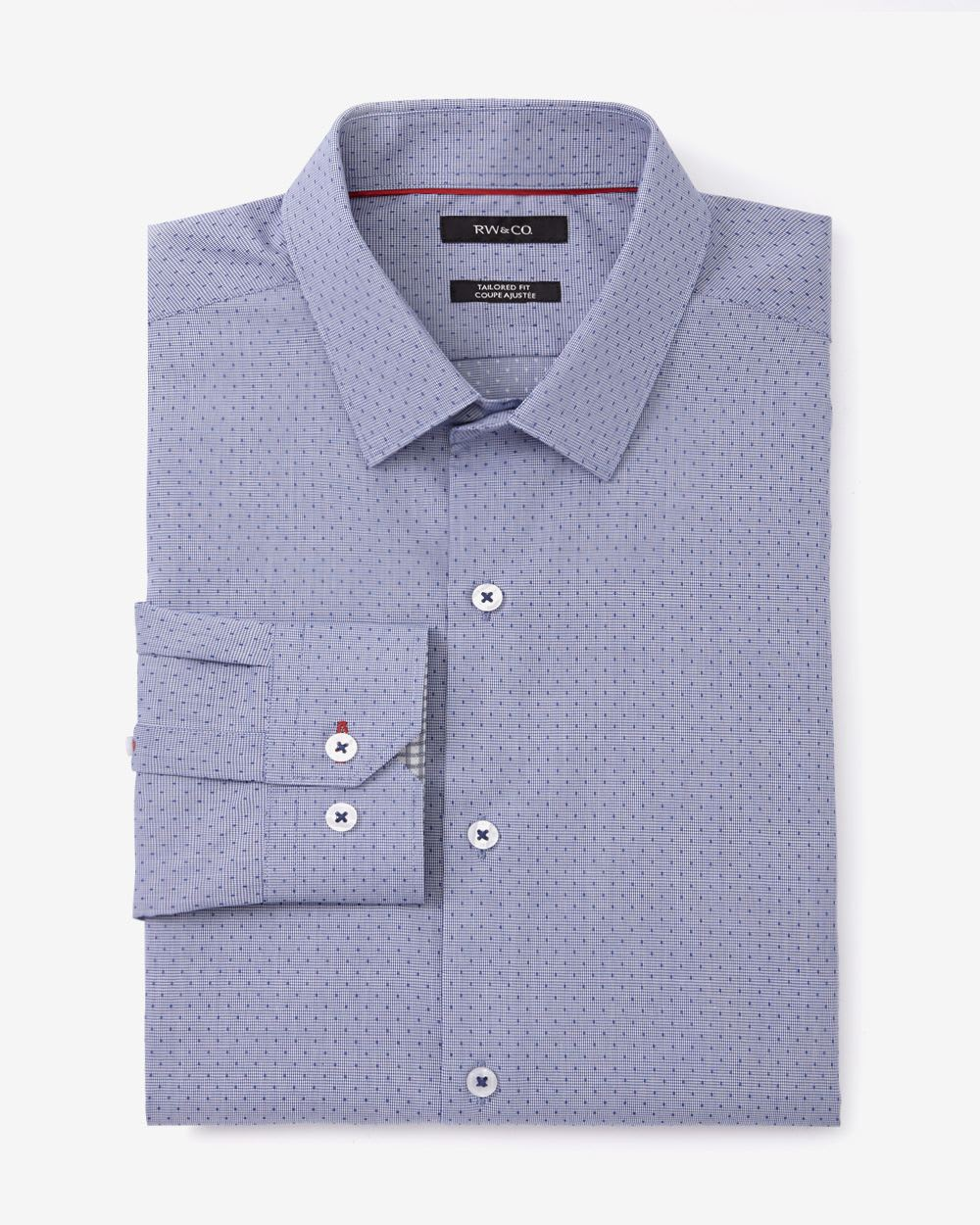 tailored fit printed dress shirt rw co