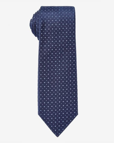 Regular blue tie with micro pattern