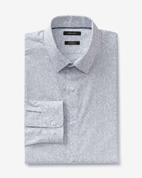 Tailored fit dress shirt with floral outline