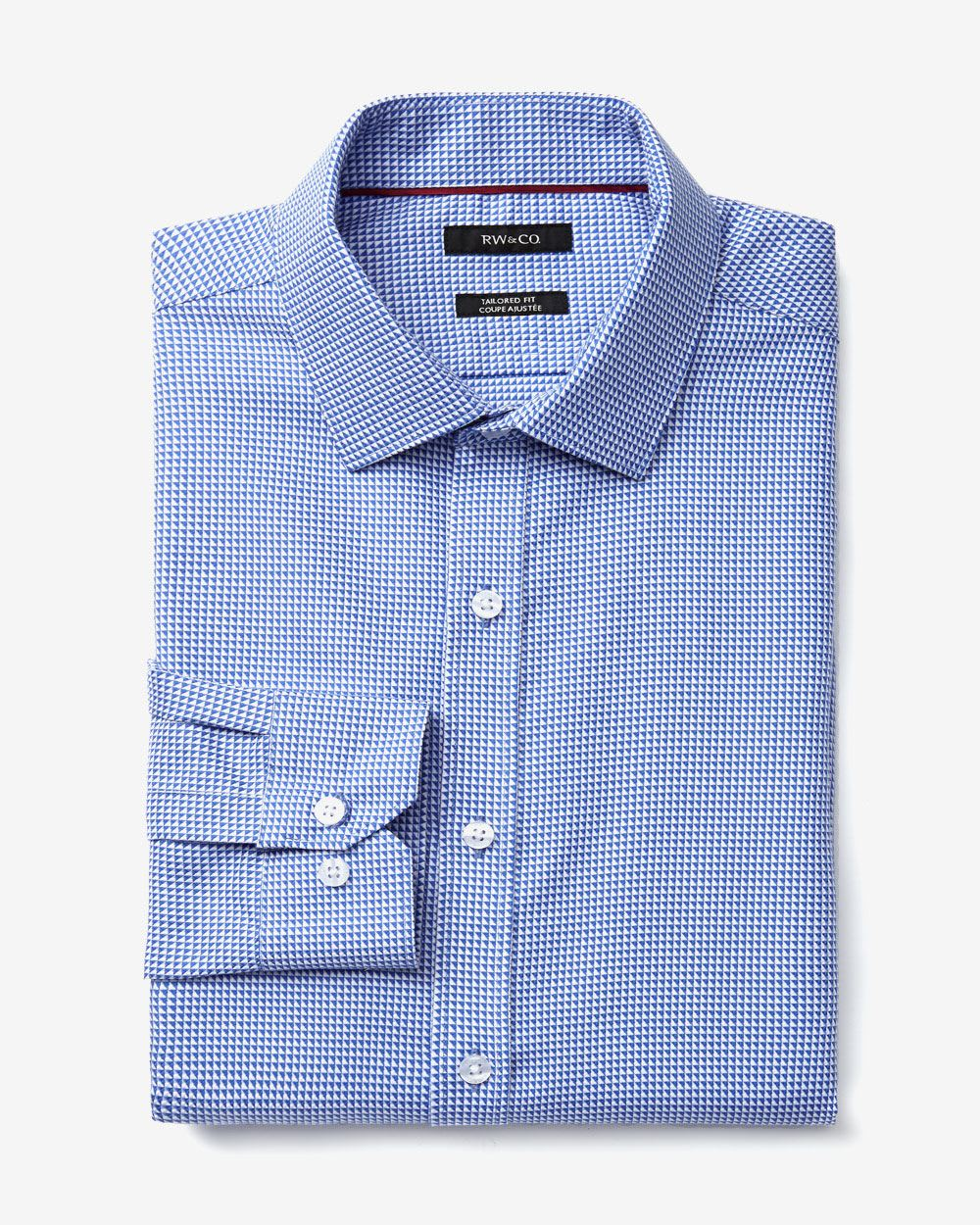 Tailored fit triangle print dress shirt rw co for Tailoring a dress shirt
