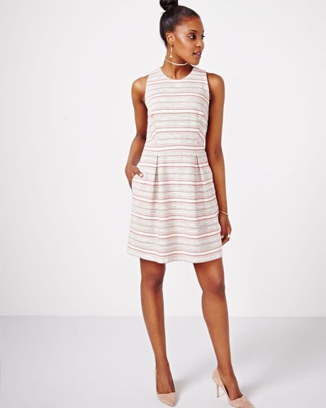 Striped Fit and Flare Dress with Open Back