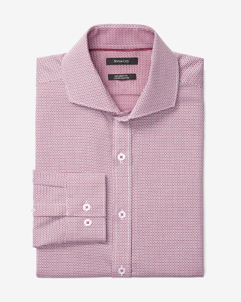 Tailored fit dress shirt in red and white pattern rw co for Tailoring a dress shirt