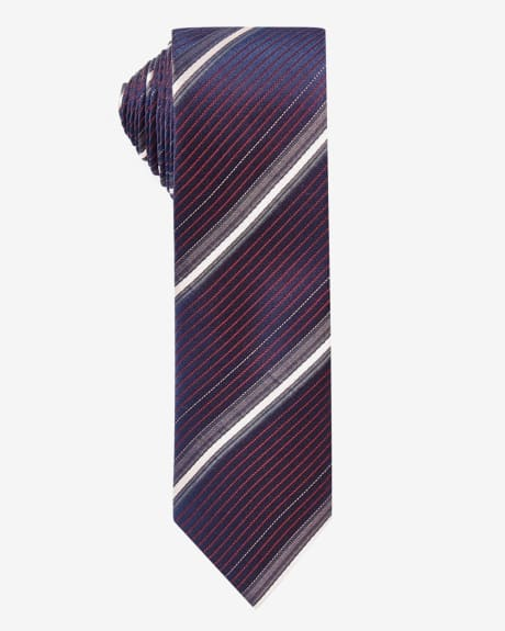 Skinny black and red thin stripe tie