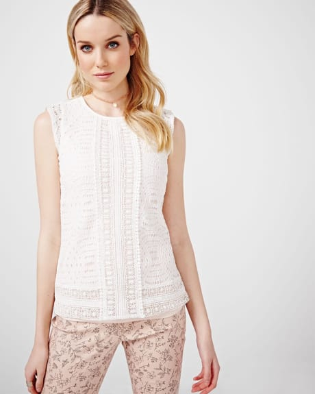 Sleeveless Guipure Lace T-Shirt