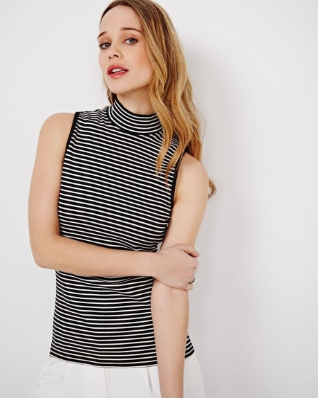 Sleeveless Mock Neck T-Shirt
