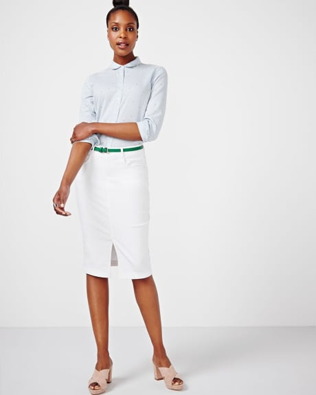 White Denim Pencil Skirt.White.14