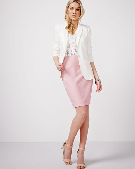 Stretch linen pencil skirt.Light rose multi.8