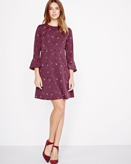 Printed Fit and Flare Dress with back tie