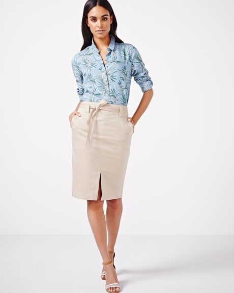 Linen-blend Pencil Skirt.Natural.8