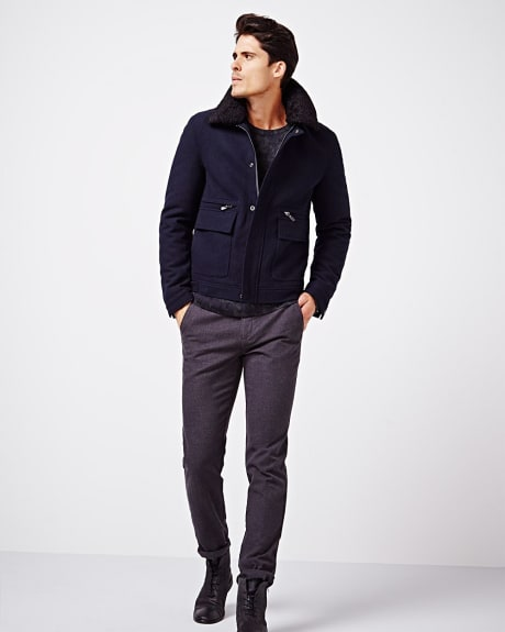 Wool-blend aviator jacket