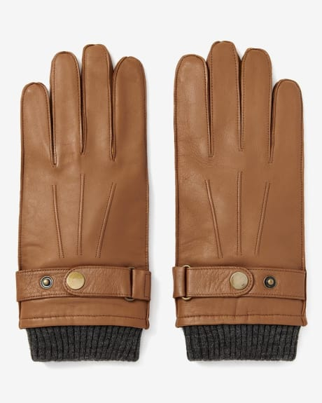 Leather gloves with ribbed cuff