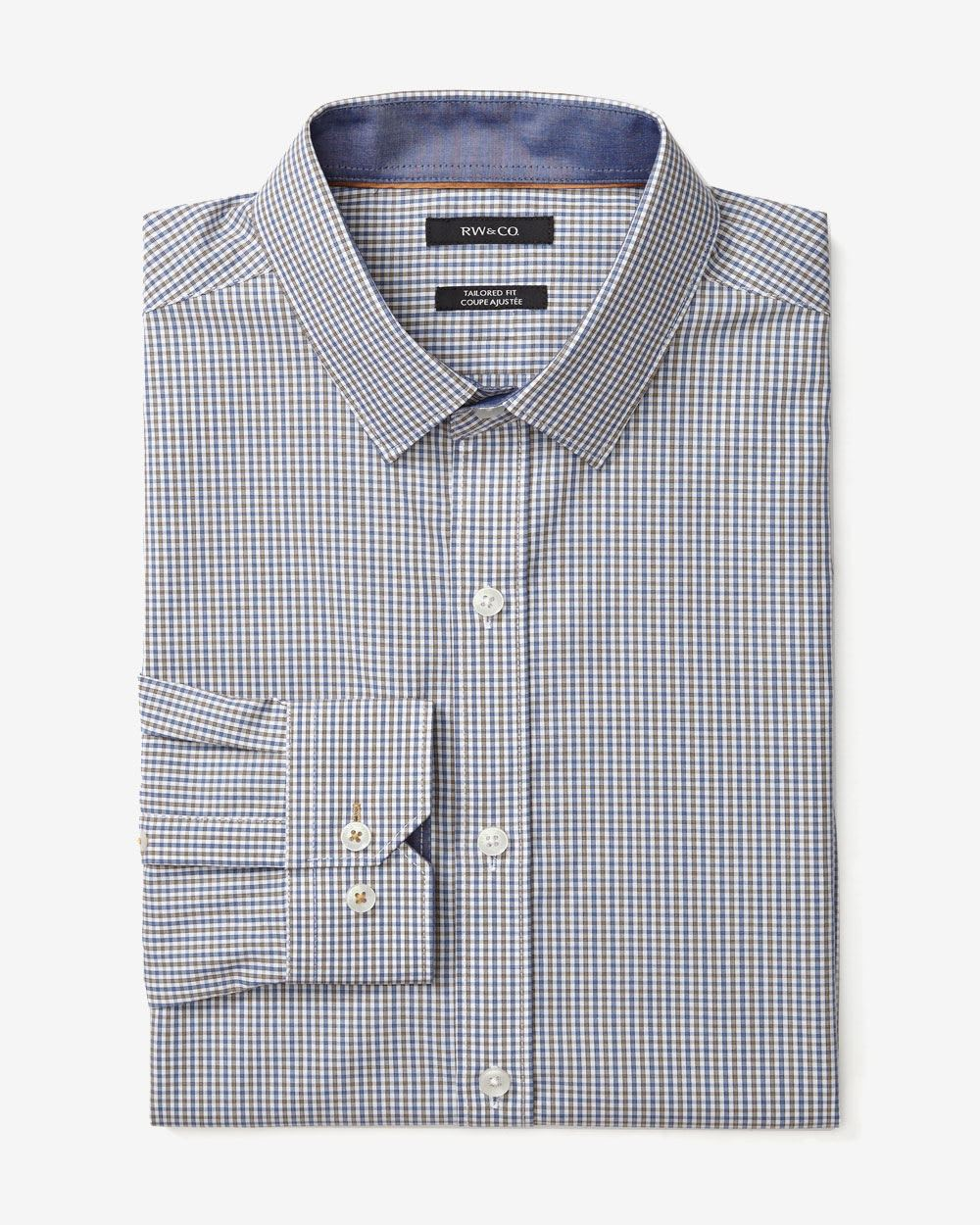 Tailored fit two tone check dress shirt rw co for Tailoring a dress shirt