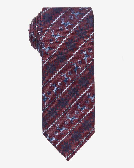 Wide Reindeer Print Tie.Biking red heather.1SIZE