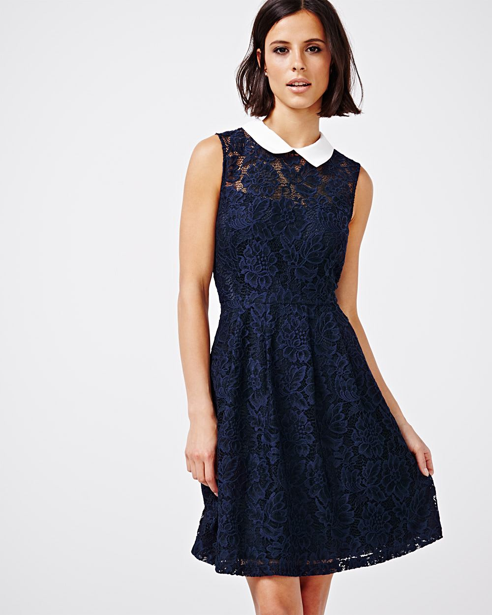 Lace Dress With Collar Rw Co