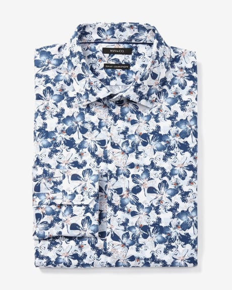 Slim Fit Flower Print Dress Shirt