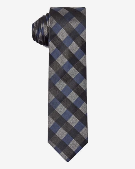 Regular blue and grey check tie.Navy.1SIZE