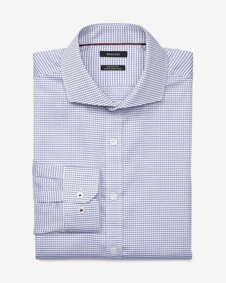 Athletic Fit White Grid Dress Shirt