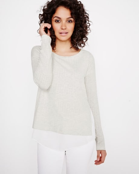 Striped Lightweight Sweater with Fooler