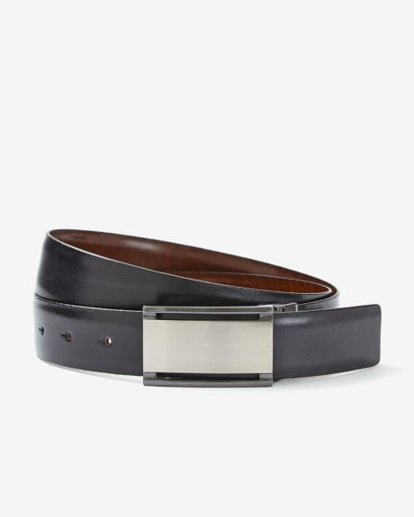 Reversible leather belt with cut-out buckle