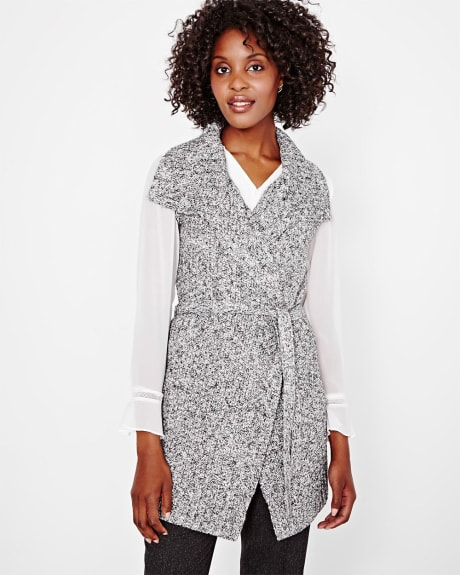 Sleeveless open-front cardigan