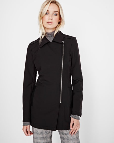 Soft Shell Coat with Vegan Leather details