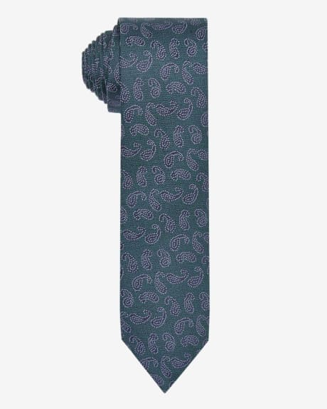 Regular green tie with paisley