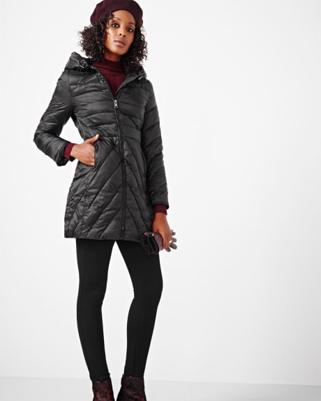 Fit and flare packable jacket