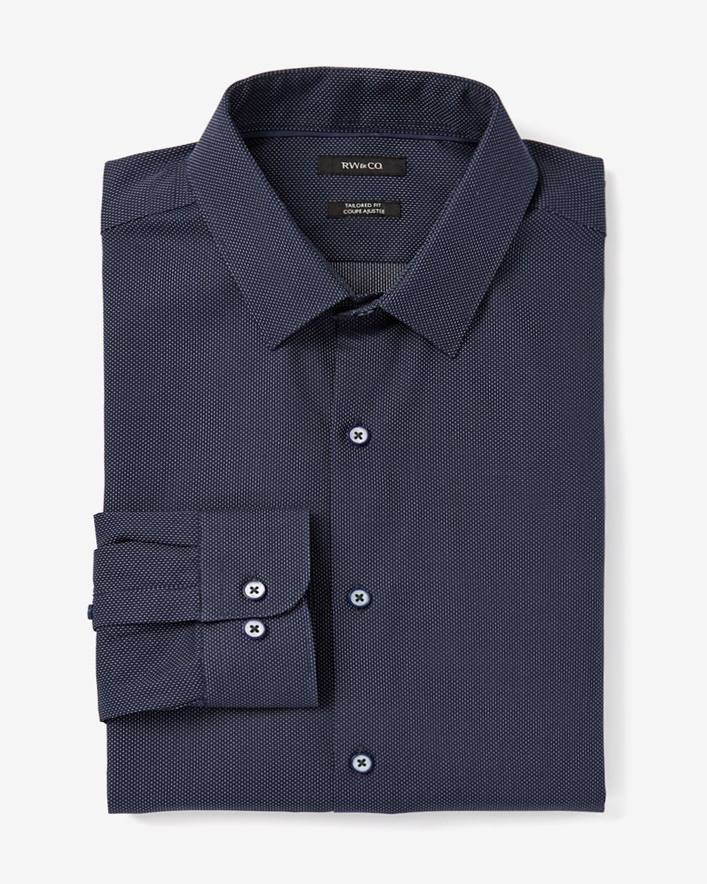 Tailored fit dobby dress shirt rw co for Tailoring a dress shirt