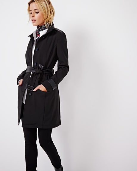Modern raincoat with faux leather details