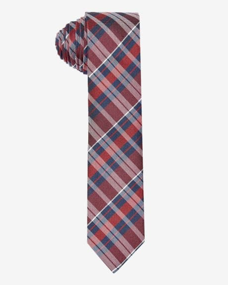 Skinny red and blue check tie