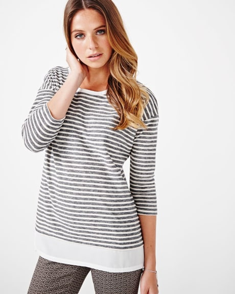 Striped 3/4 Sleeve T-Shirt