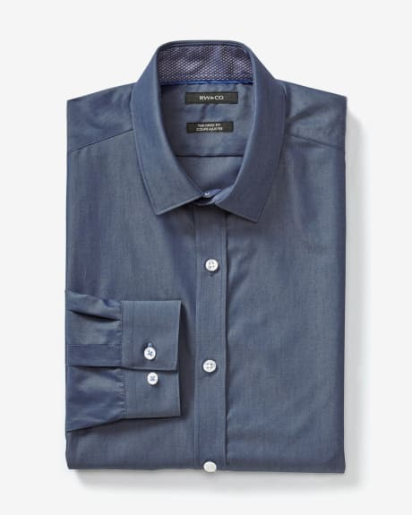 Solid denim Tailored fit dress shirt