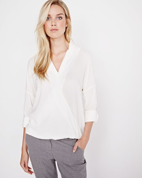 Stretch Challis Faux-wrap Blouse