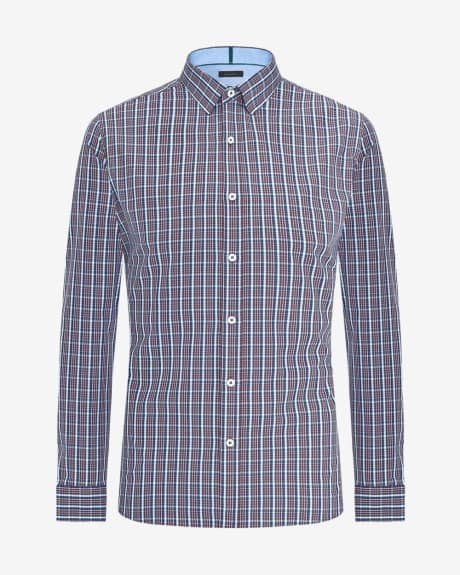 Tailored fit purple check shirt