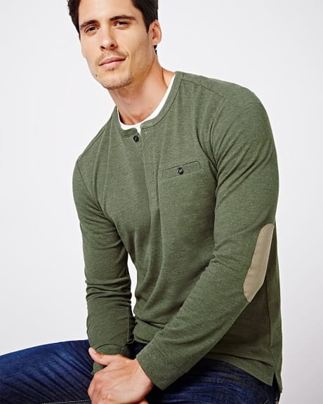 Henley T-shirt with elbow patches