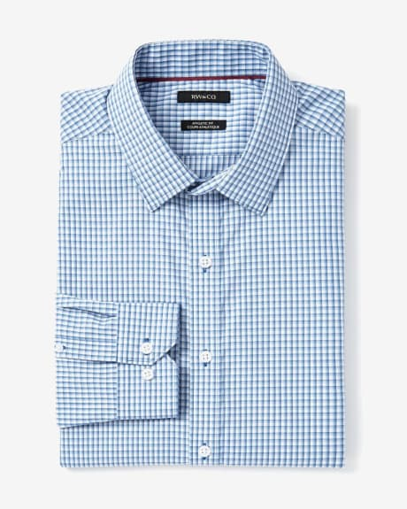 Athletic Fit Blue Grid Dress Shirt