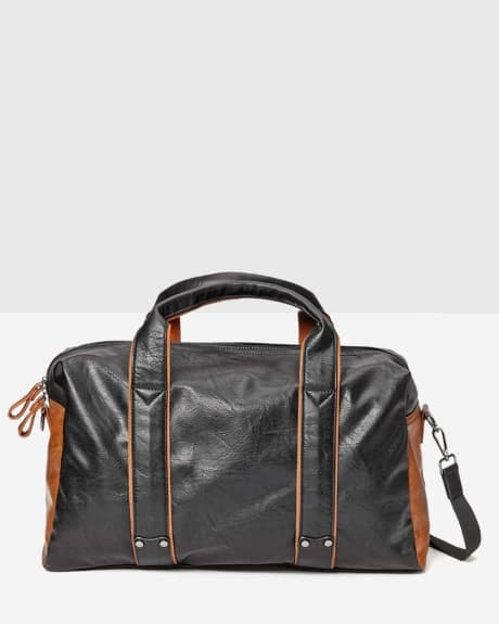 Faux leather duffle bag