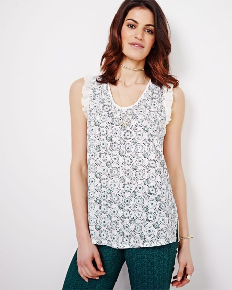 Sleeveless Mixed Media T-shirt With Ruffles