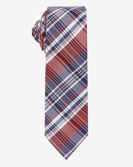 Regular Three Colour Check Tie.Molten lava.1SIZE