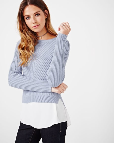 Fancy stitch double-layered sweater