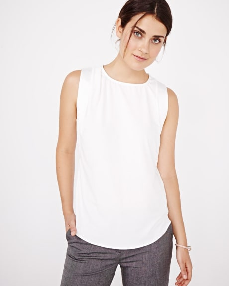 Sleeveless crepe top with shoulder pleats