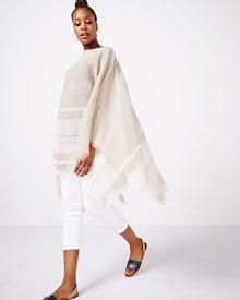 Linen Striped Ruana Poncho