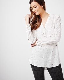 Split neck challis tunic blouse