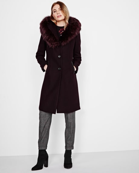 Wool-blend coat with faux-fur collar