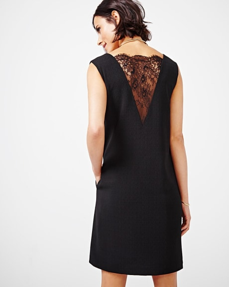 Textured shift dress with lace