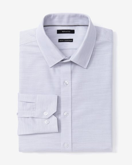 Slim Fit Horizontal Slub Dress Shirt