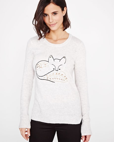 Sweater with fox embroidery