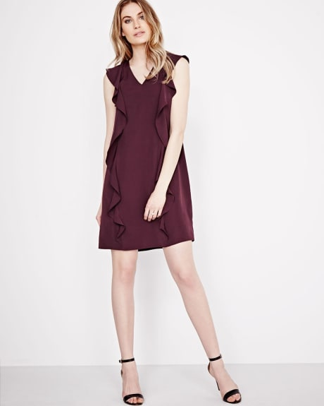 Sleeveless shift dress with ruffles